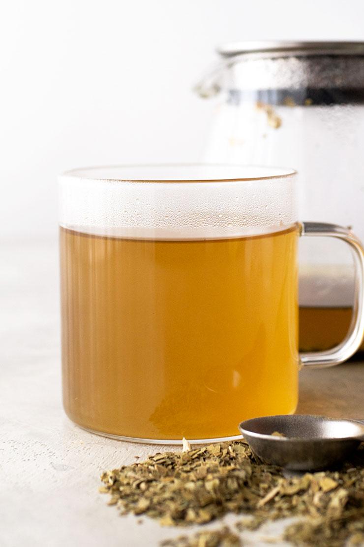 Yerba mate tea in a mug.
