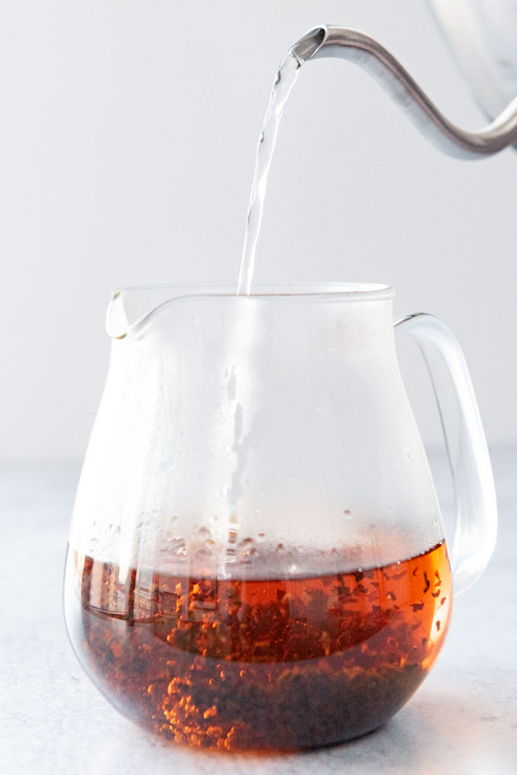 Hot Assam tea in teapot