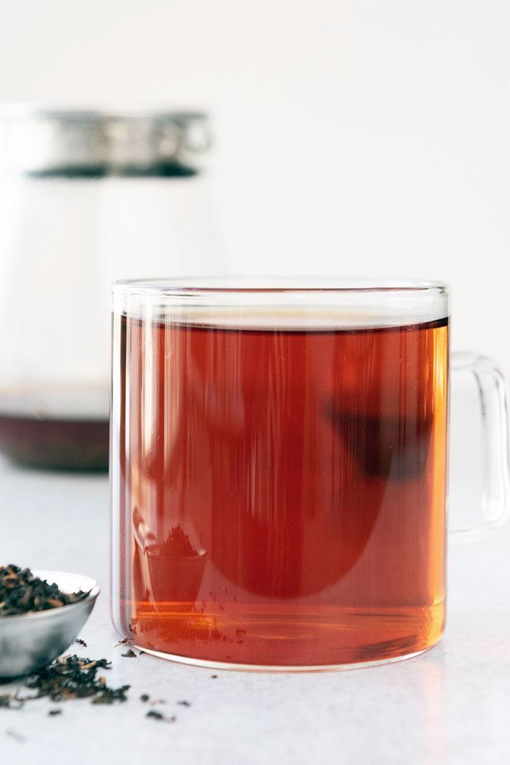 Hot Assam Tea in Glass Mug