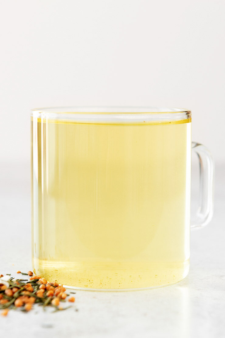 Hot genmaicha tea in a mug