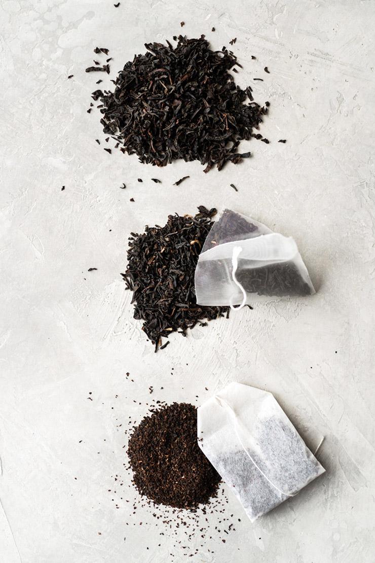 Loose tea, tea sachets, and tea bags