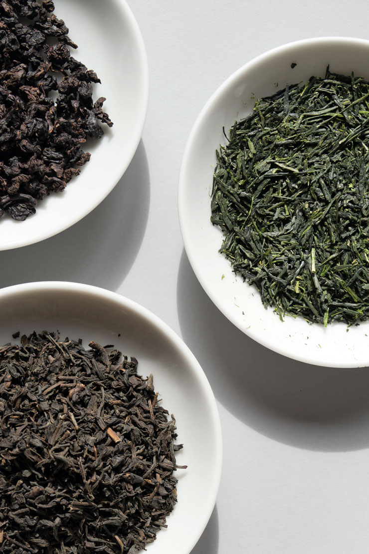 Three different types of loose tea.
