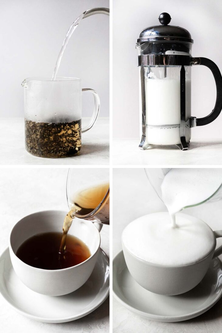 4 photos showing steps to make an Earl Grey tea latte.