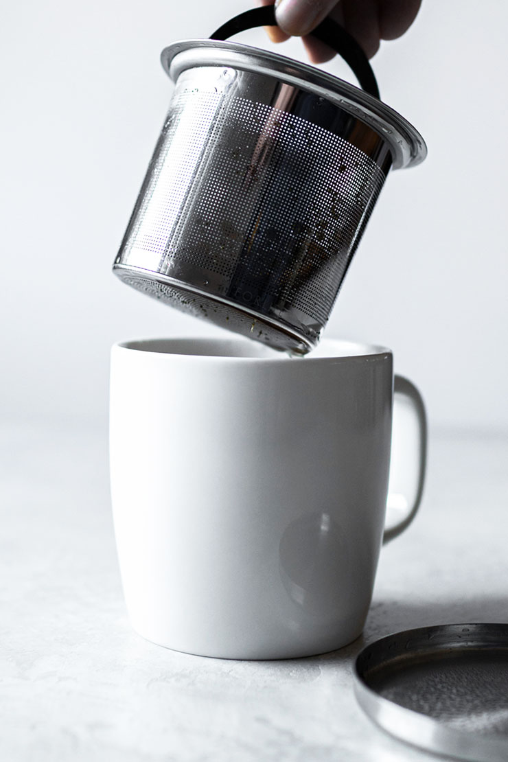Tea in a mug with infuser