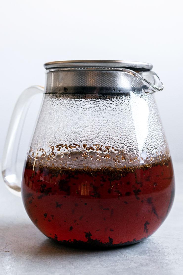 Rooibos tea steeping in hot water