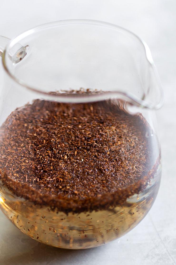 Rooibos tea steeping in water