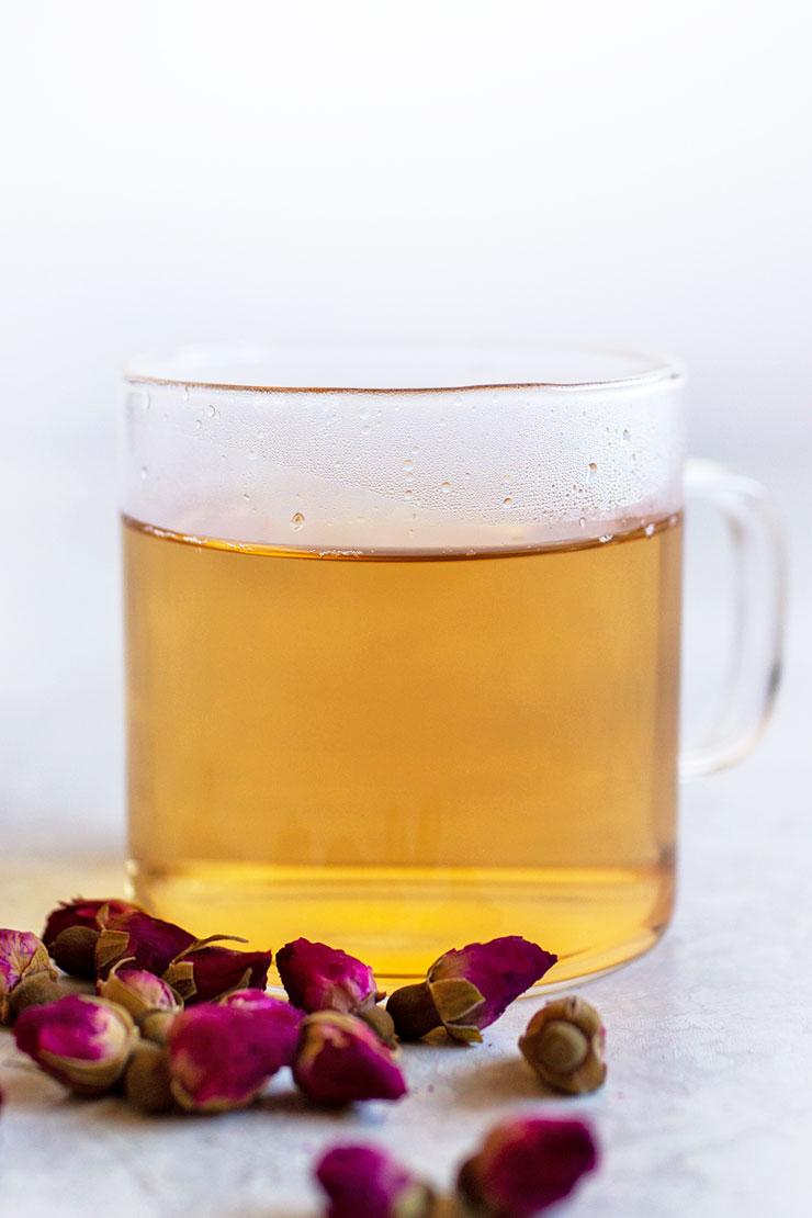 Hot rose tea in a mug