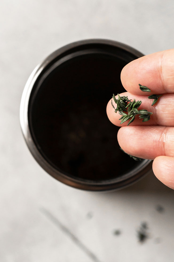 Thyme into cocktail shaker