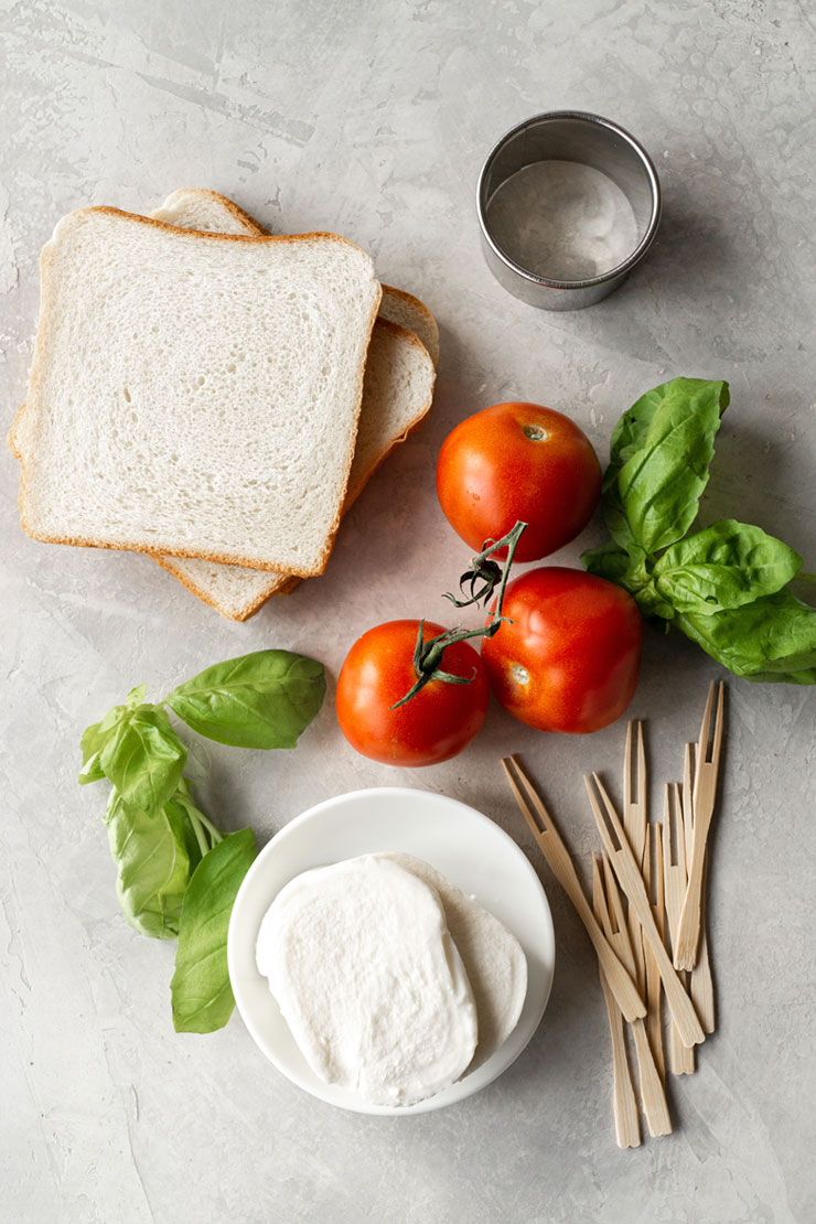 Mozzarella Cheese, Tomato, and Basil Tea Sandwich Ingredients