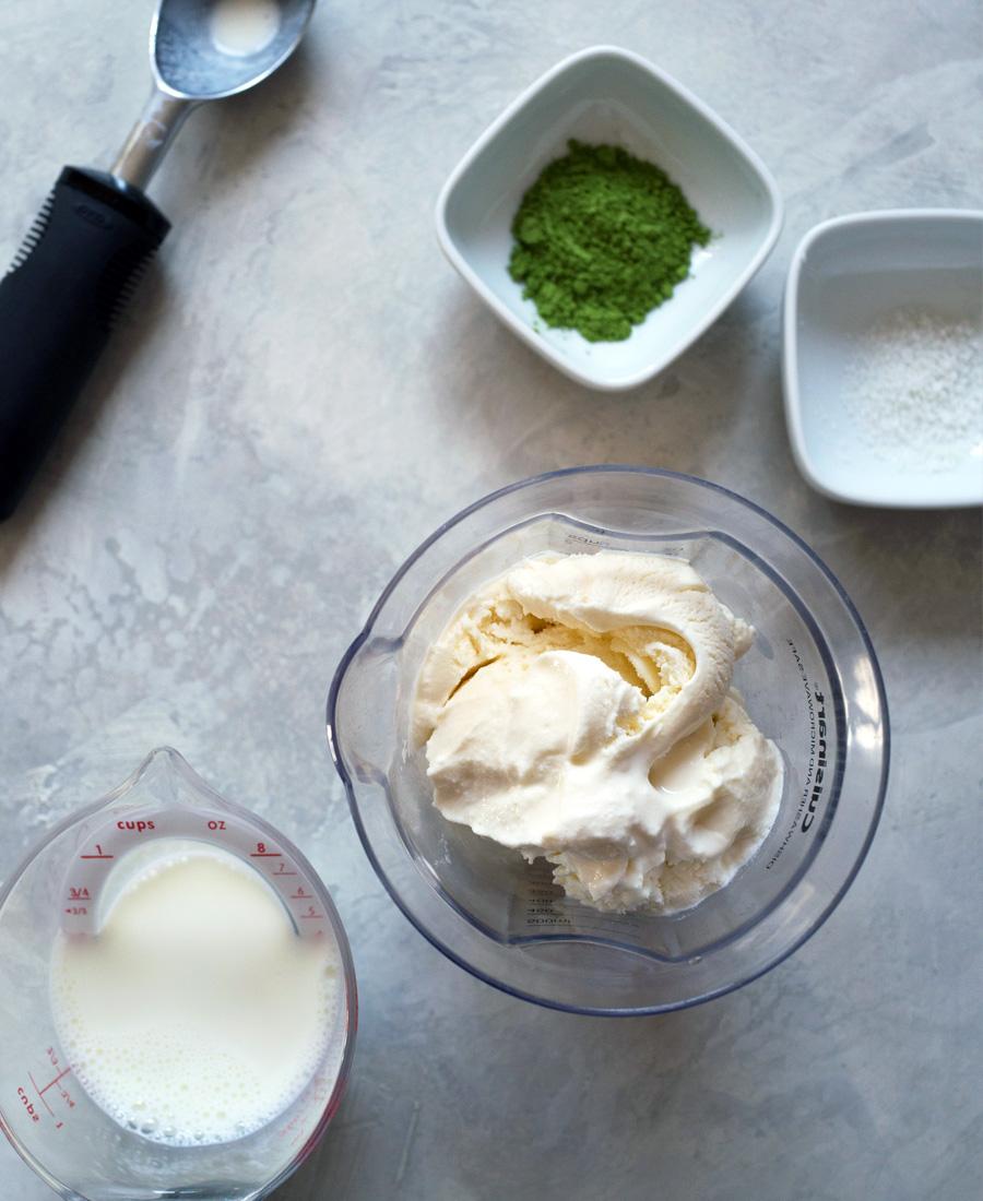 Matcha green tea milkshake ingredients photo
