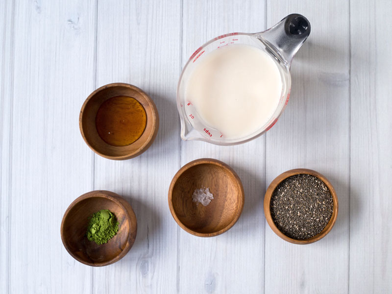 Matcha chia seed ingredients photo