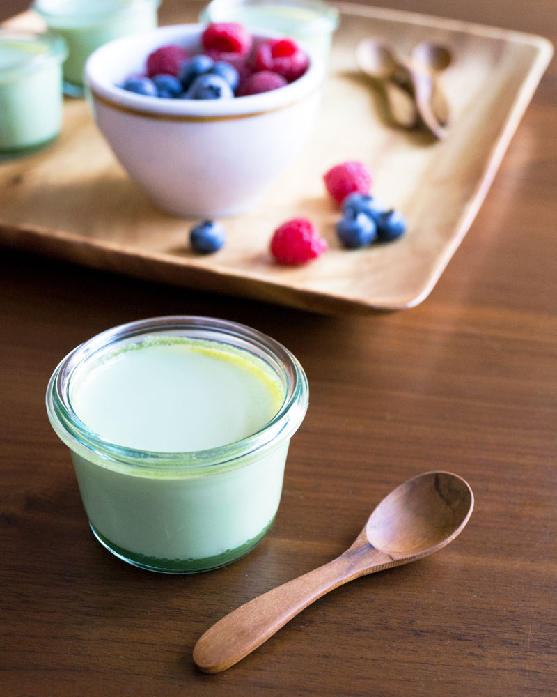 Green tea panna cotta photo