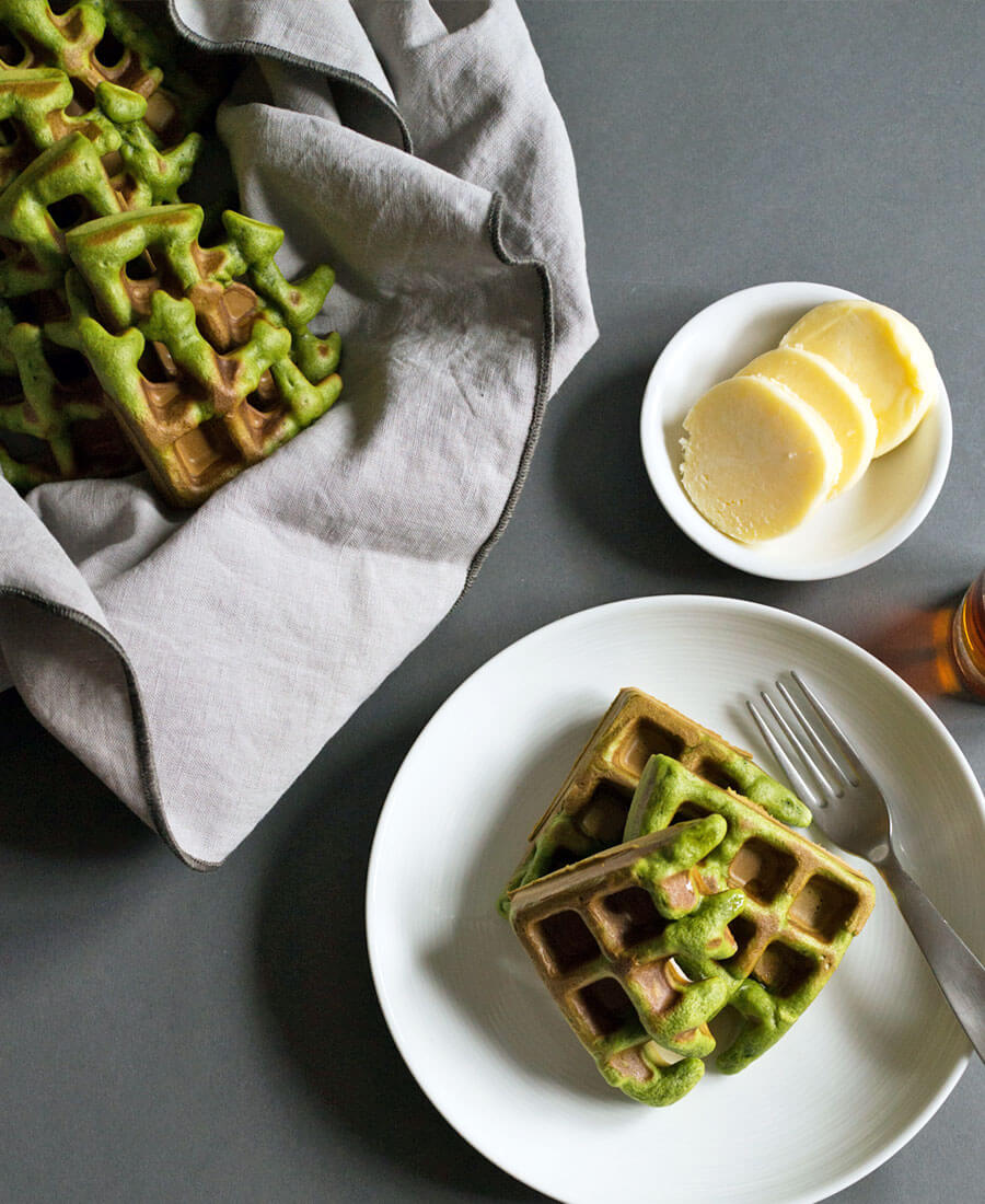 Matcha Green Tea Waffles Recipe
