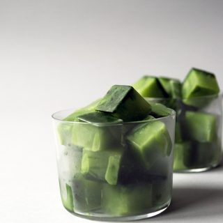 Matcha green tea latte ice cubes photo