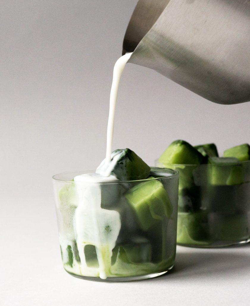 Green tea latte ice cubes photo