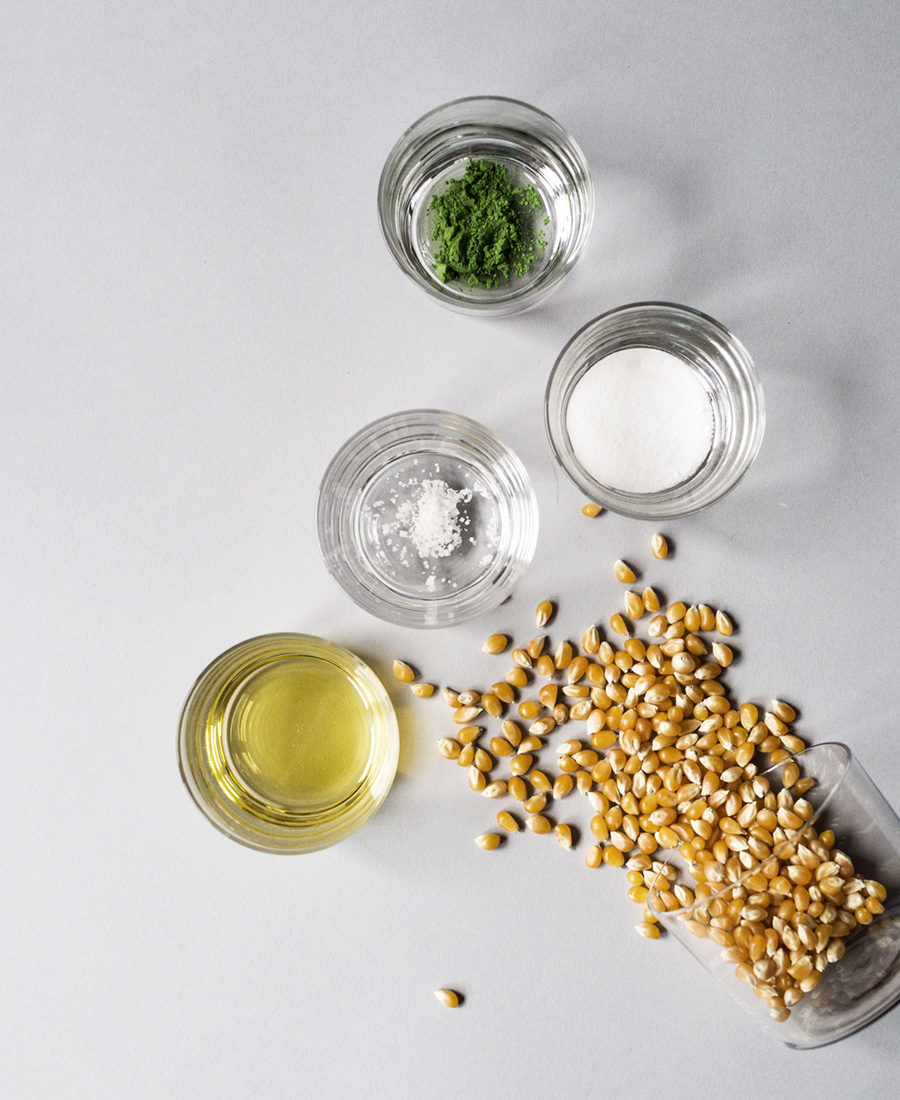 Matcha (Green Tea) Popcorn ingredients photo