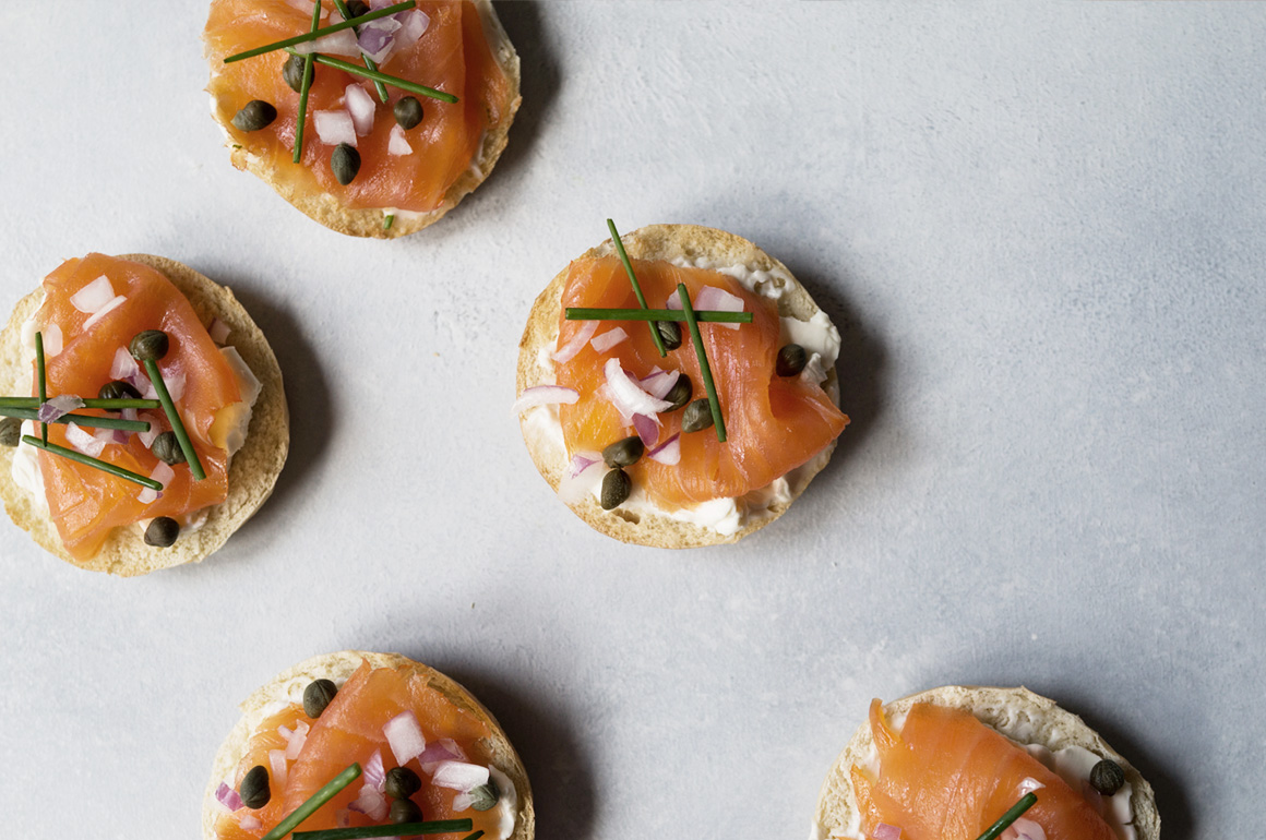 Smoked Salmon Mini Bagel Tea Sandwich