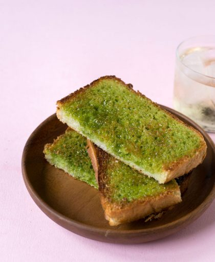 Matcha green tea toast