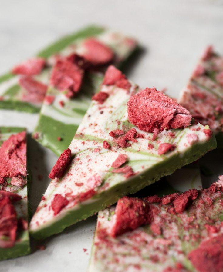 Strawberry Matcha Chocolate Bark