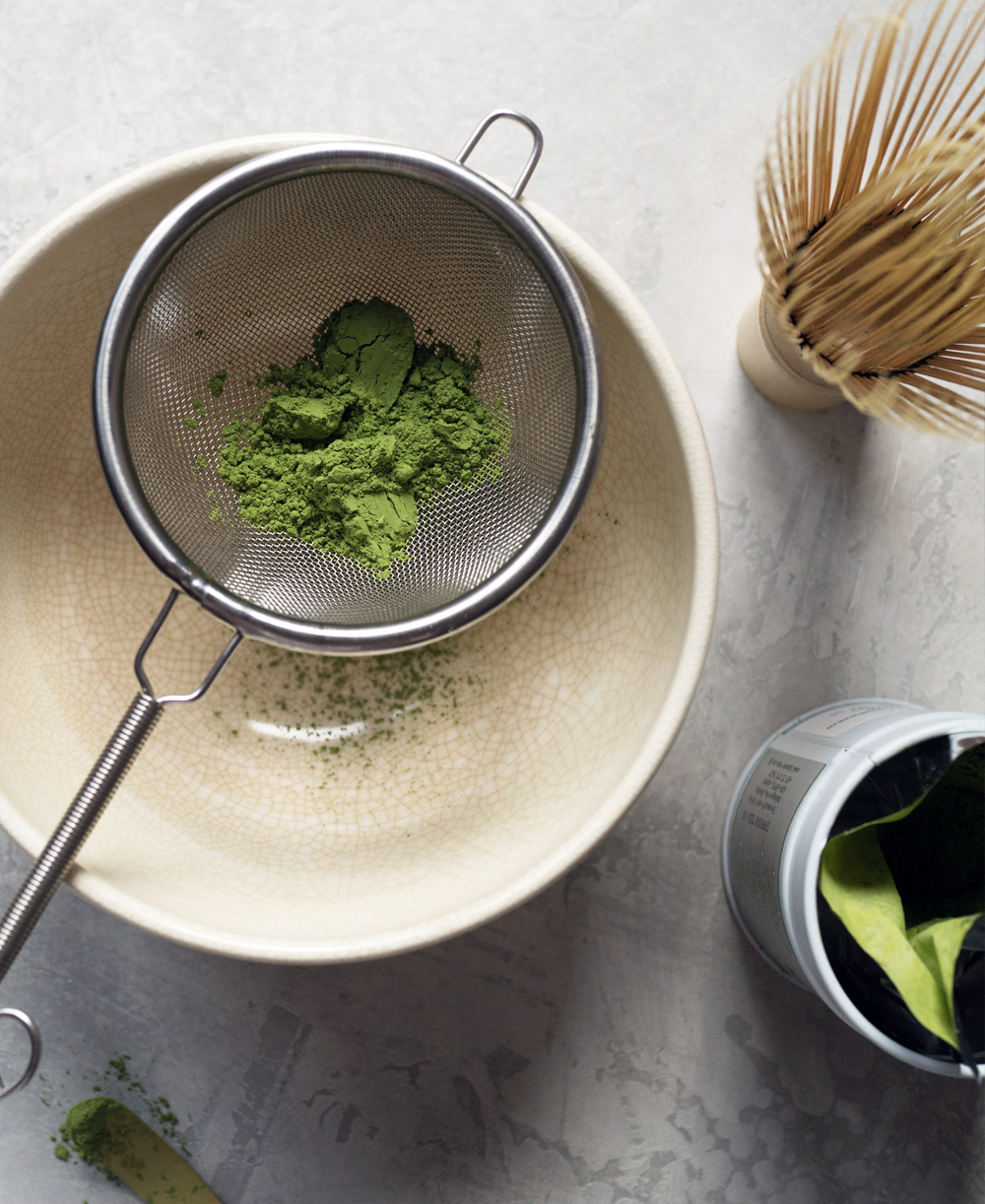Matcha affogato prep photo