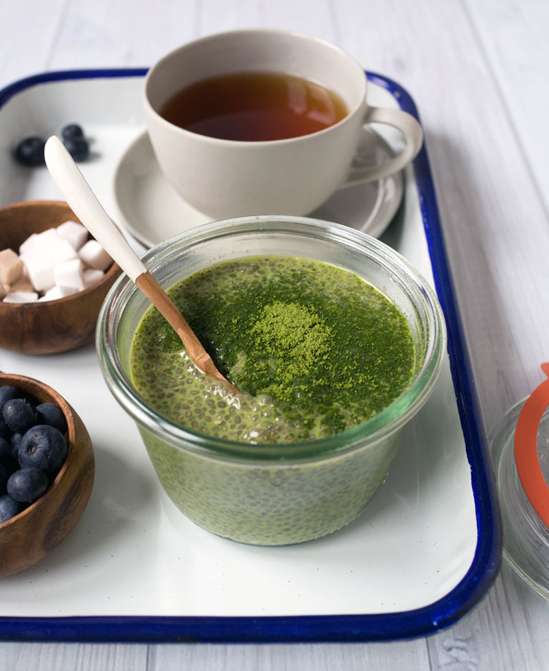Matcha green tea chia seed pudding