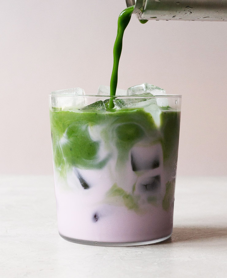 Iced matcha rose latte