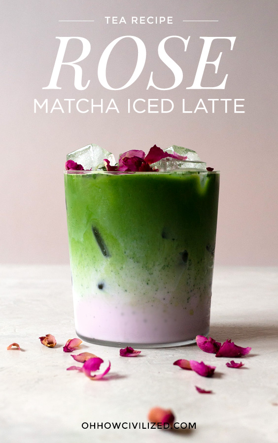 Matcha rose latte