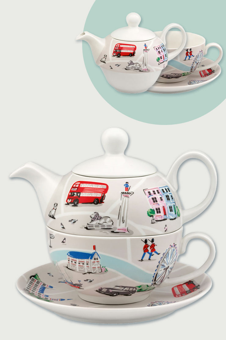 London map tea for one set