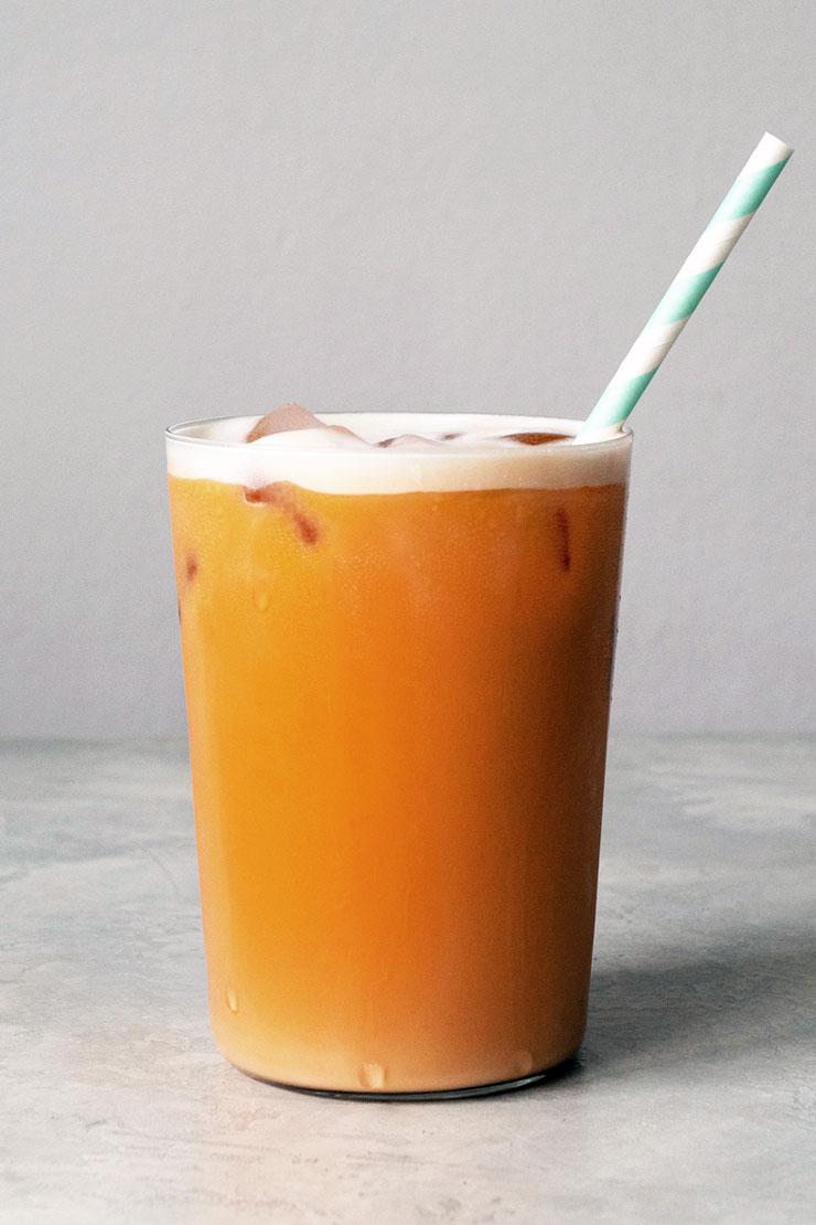 Thai iced tea in a cup