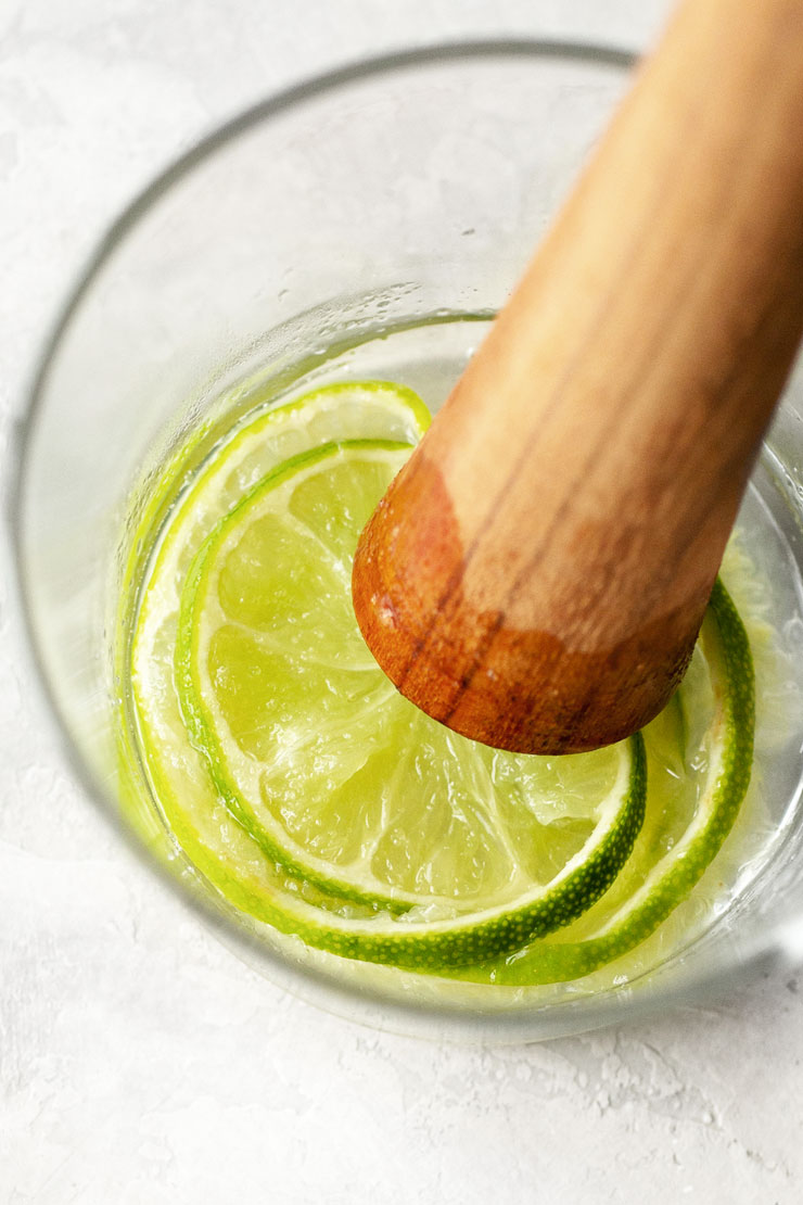 muddled sugar and lime