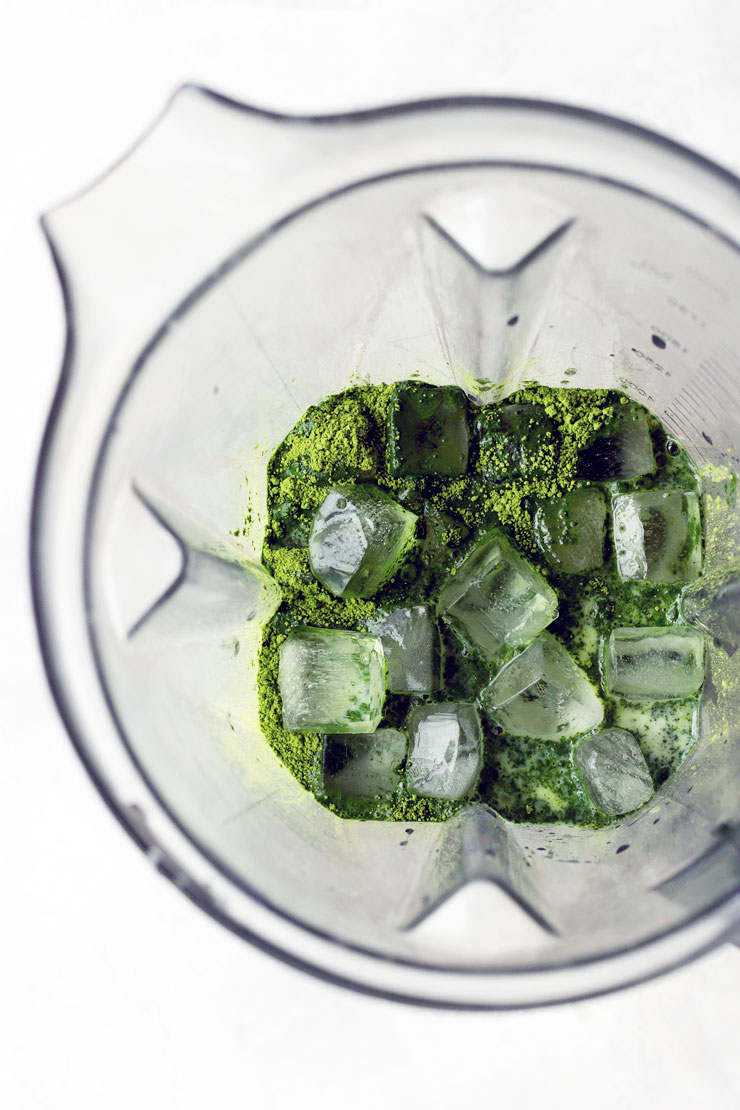 Ingredients for matcha frappuccino in a blender