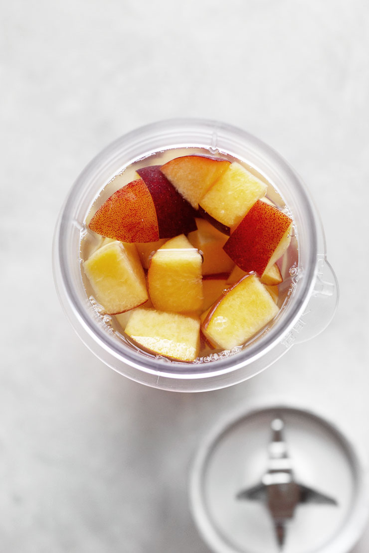 diced peaches for peach iced tea