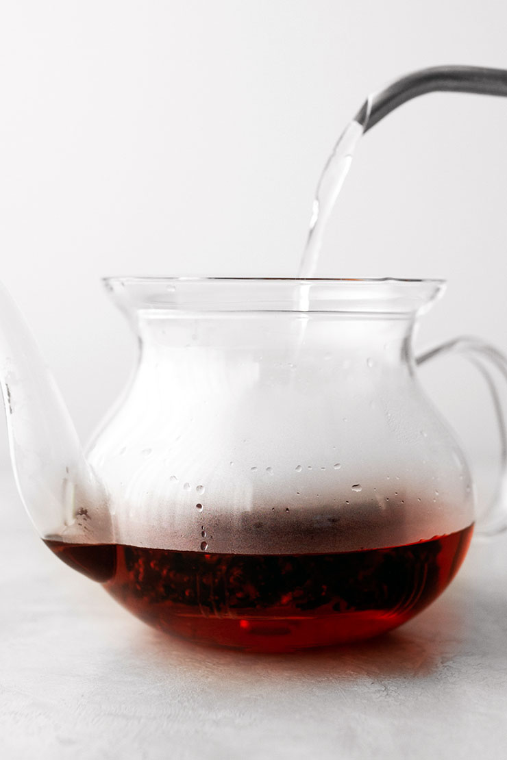Hibiscus tea in teapot