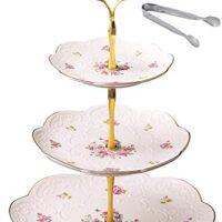 Jusalpha Elegant Embossed 3-tier Ceramic Cake Stand