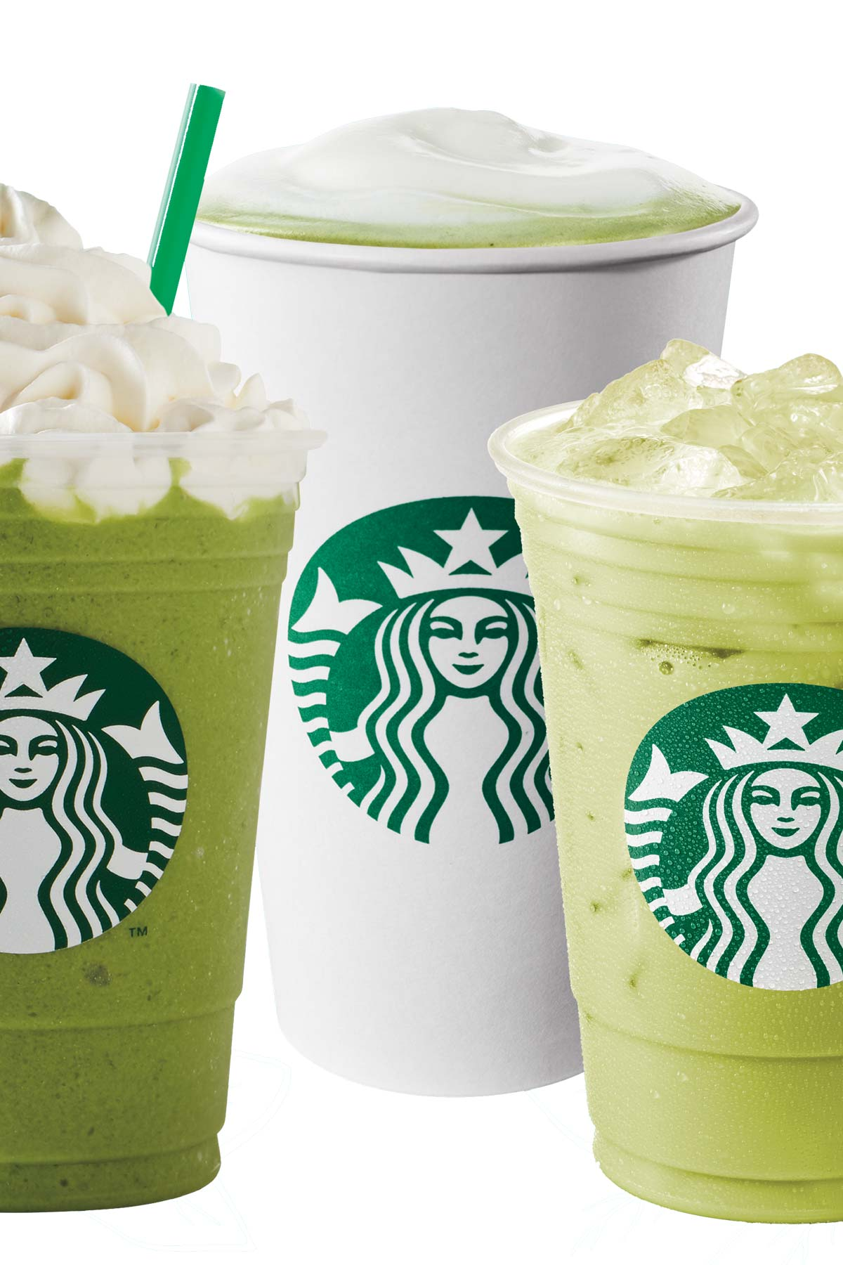 Three Starbucks matcha drinks.