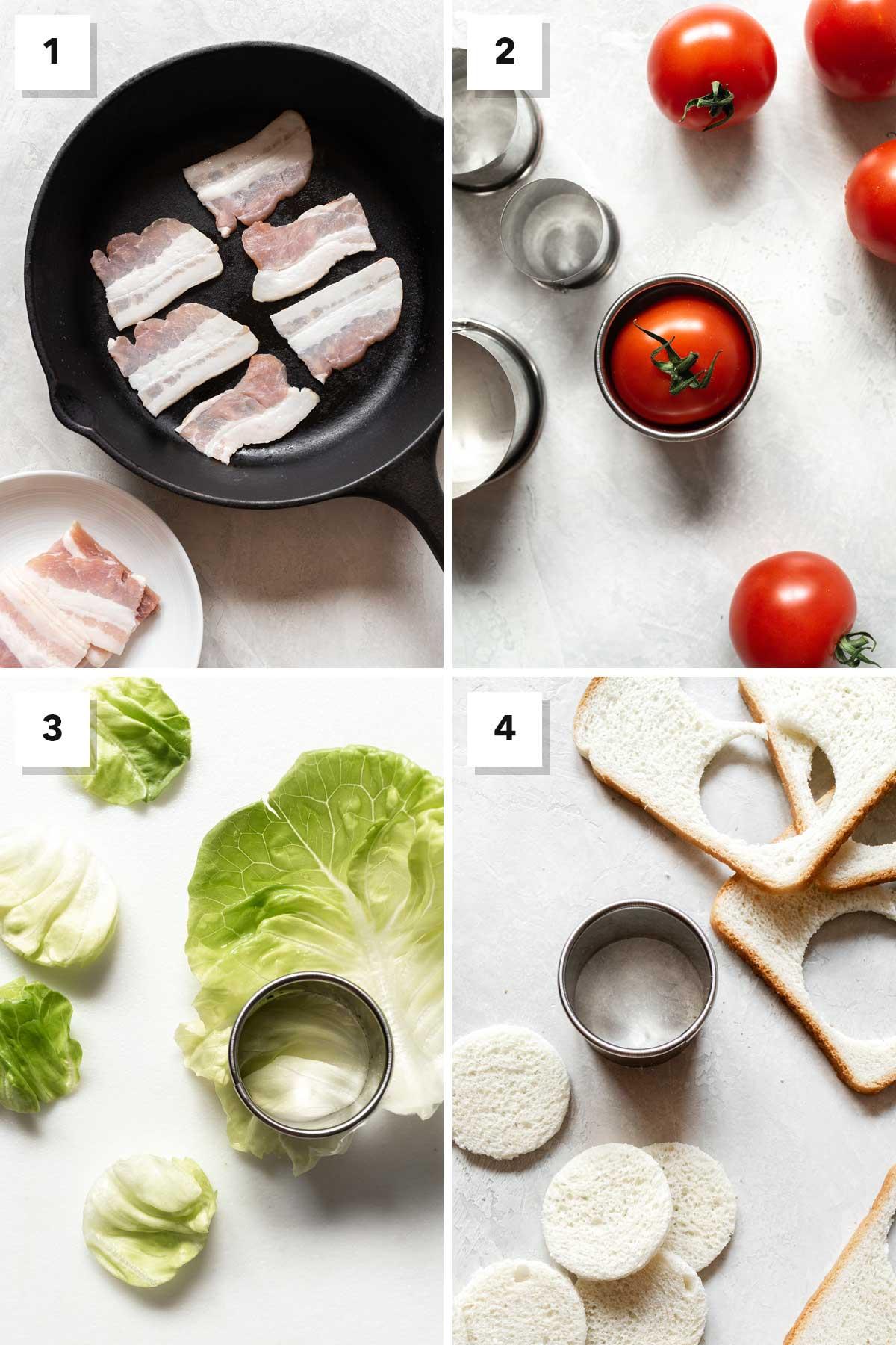 Four photos showing steps to make a BLT tea sandwich.