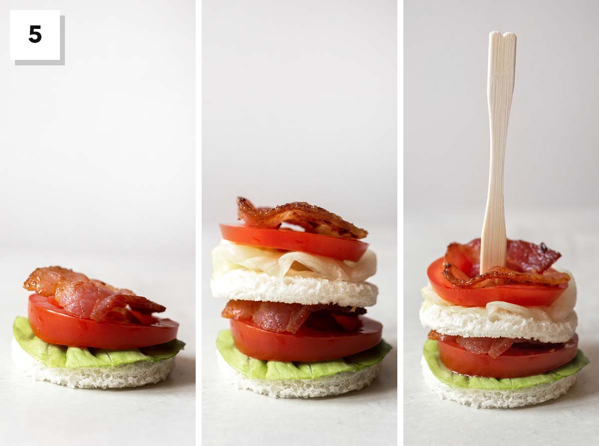 Three photos showing how to stack a BLT tea sandwich.