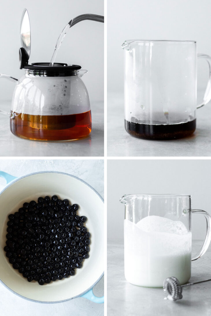 Four photos with steps to make bubble tea.