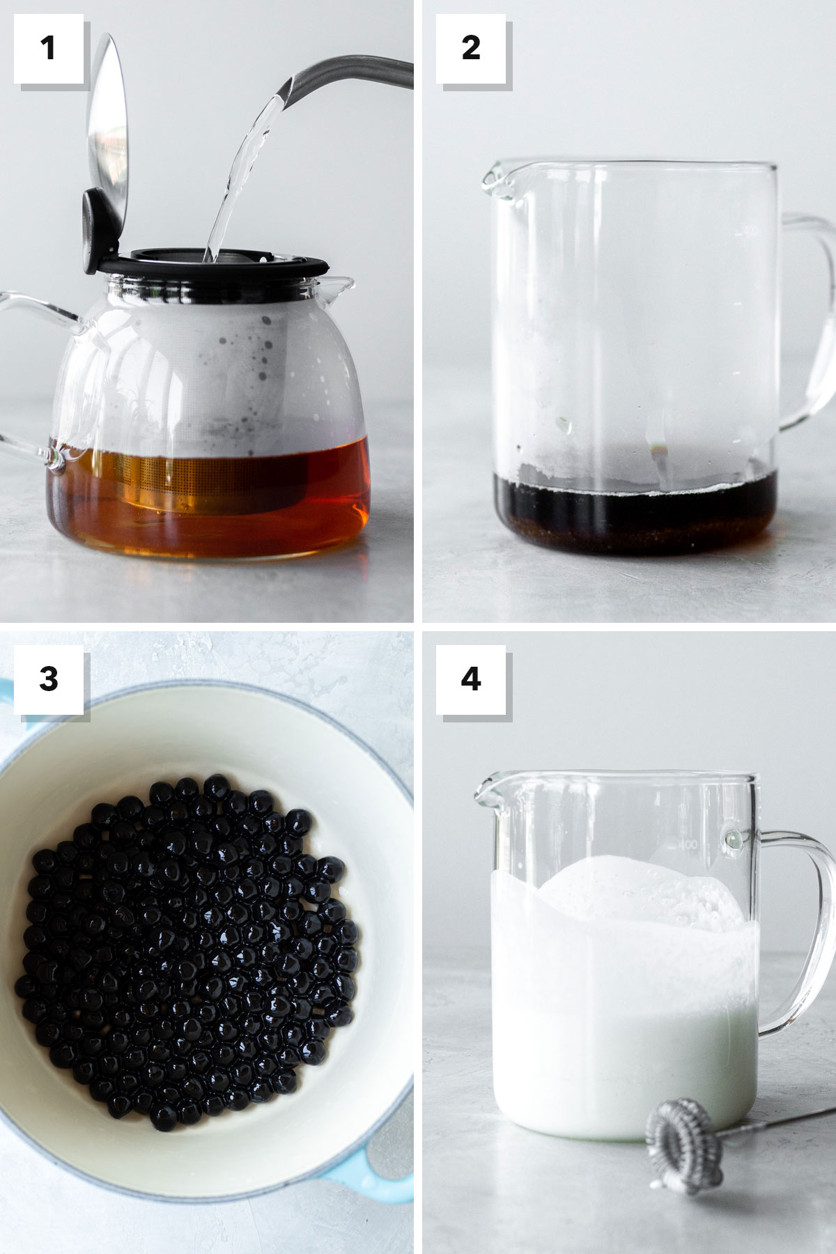 Four photo collage showing steps to make bubble tea.