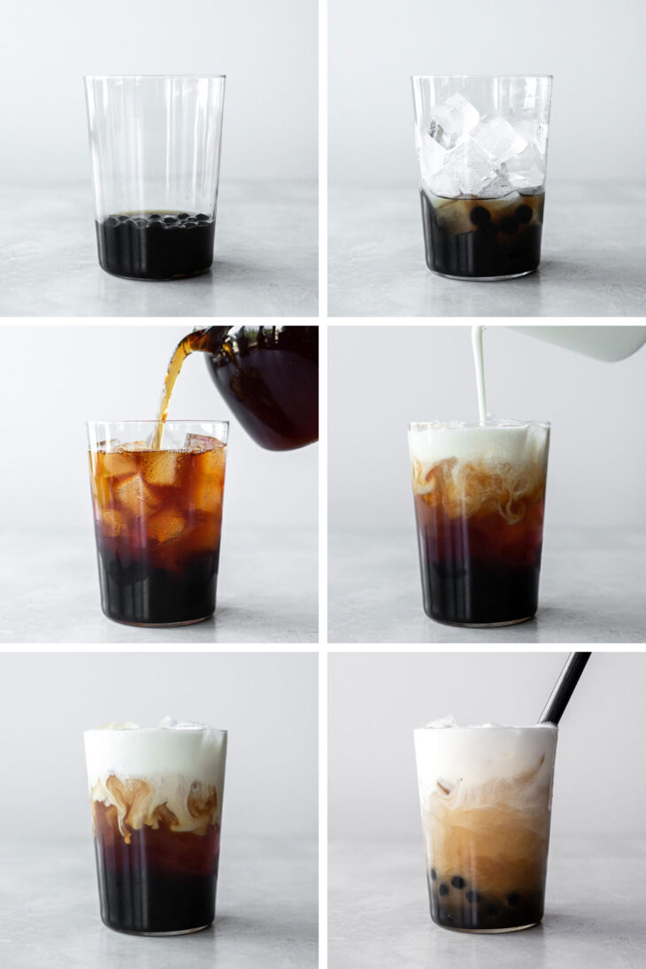 Six photos with steps to assemble the drink.