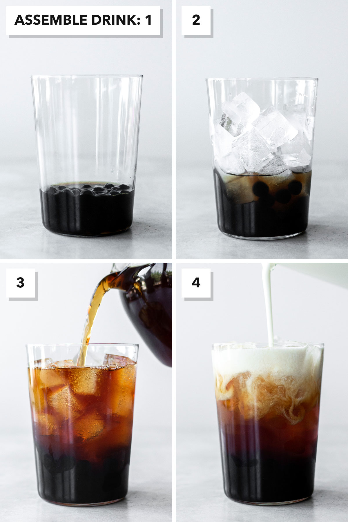 Four photo collage showing bubble tea being assembled in a glass.