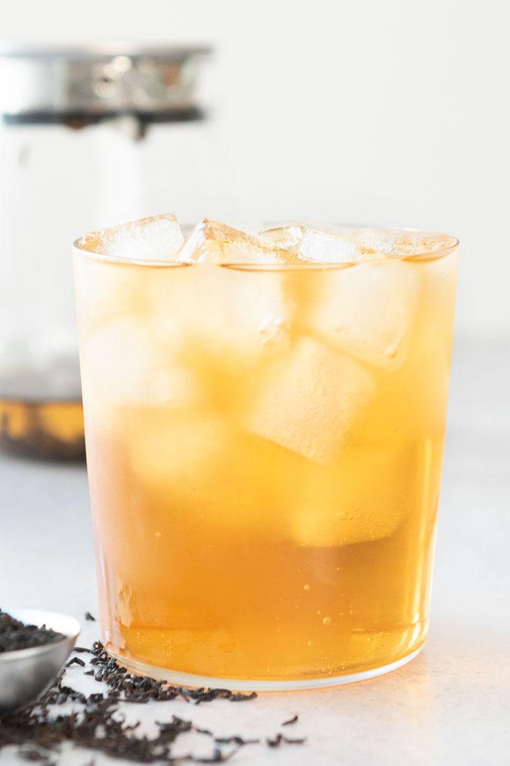 Iced Ceylon tea in a cup.