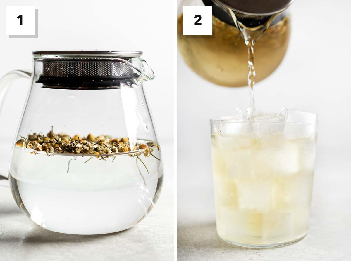 Two photo collage showing how to make iced chamomile tea.