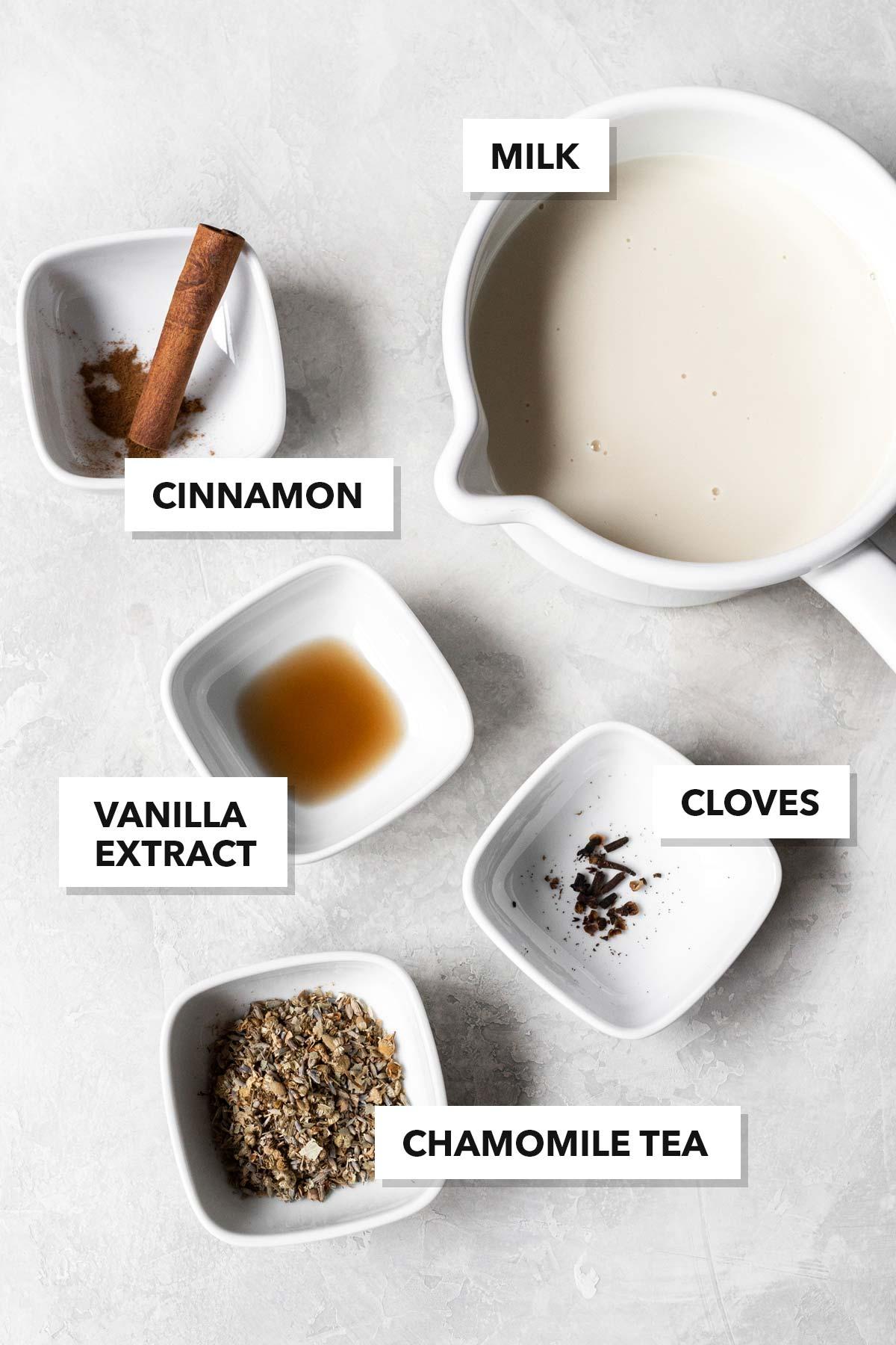 Chamomile tea latte ingredients.