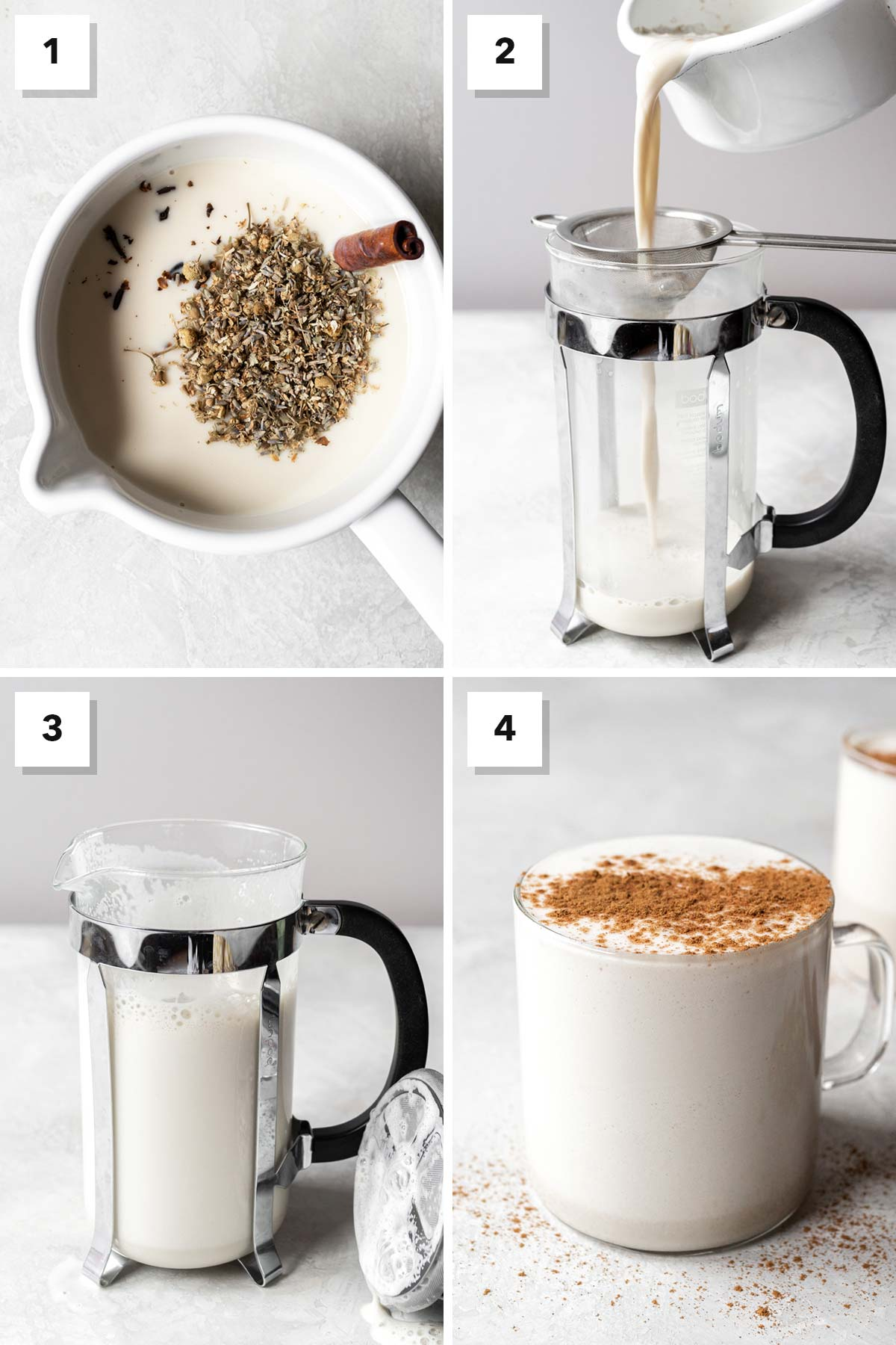 Four photo collage showing steps to make a chamomile tea latte.