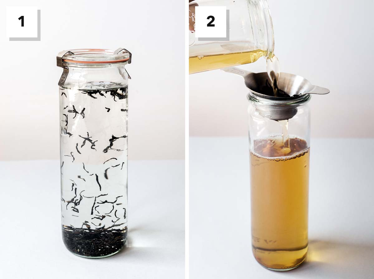 Two photo collage showing steps to make cold brewed tea.