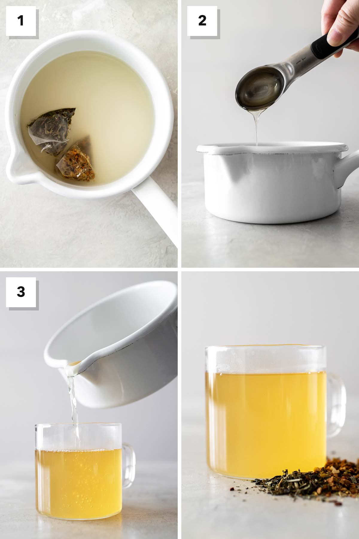 Four photo collage showing steps to make Medicine Ball Tea.