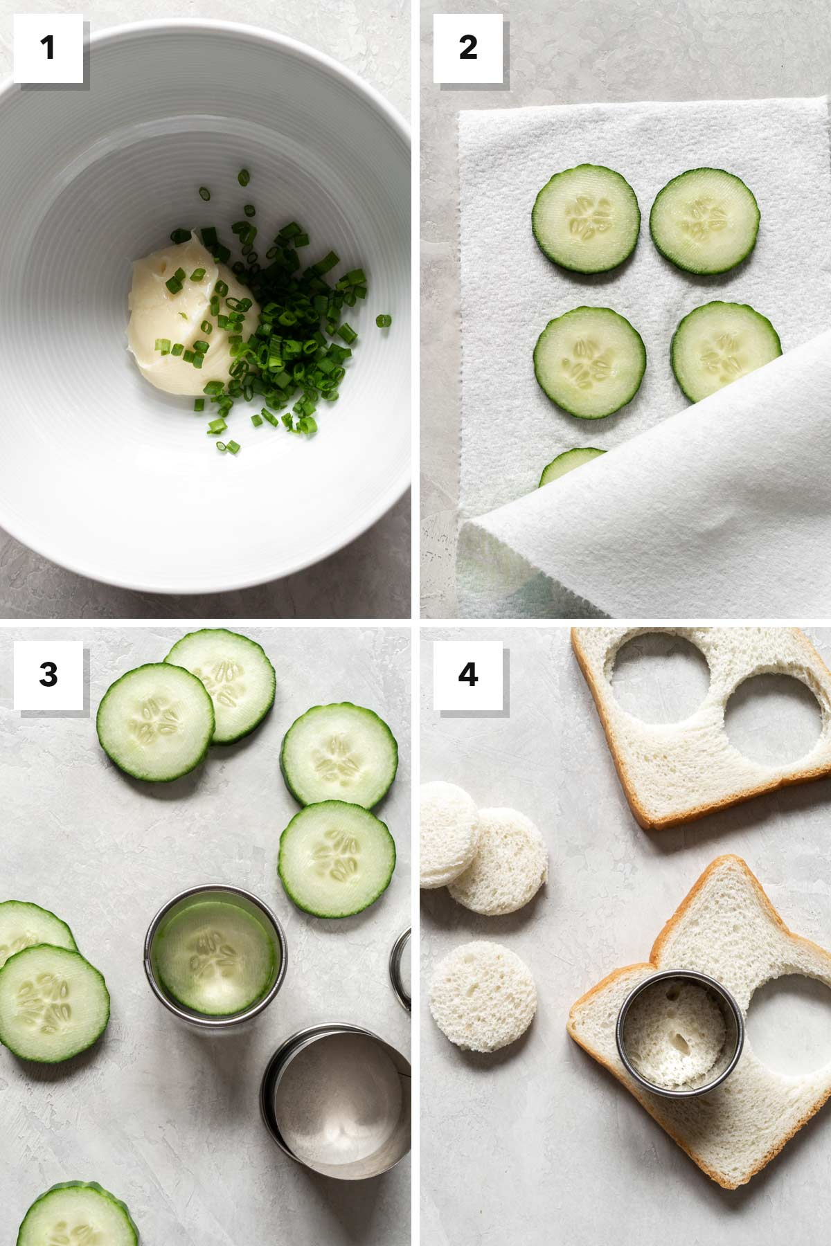 Four photo collage showing steps to make cucumber tea sandwiches.