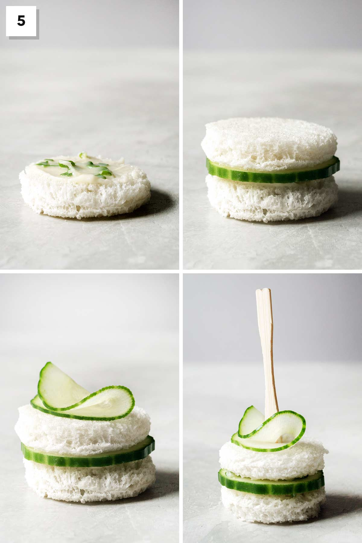 Four photo collage showing steps to assemble a cucumber tea sandwich.
