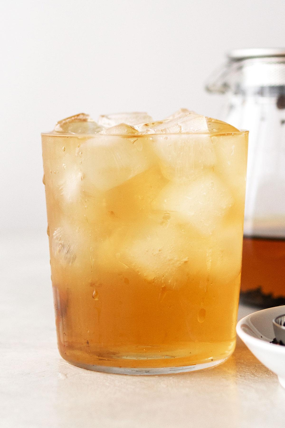 Iced Earl Grey tea in a cup.